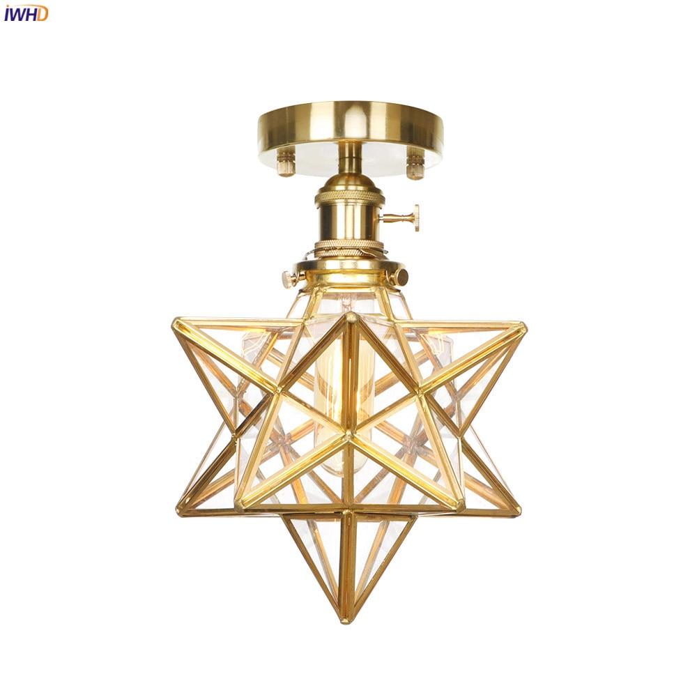 IWHD-lámpara de Techo de cobre y cristal estilo nórdico, plafón Retro, Vintage, para sala de estar, dormitorio