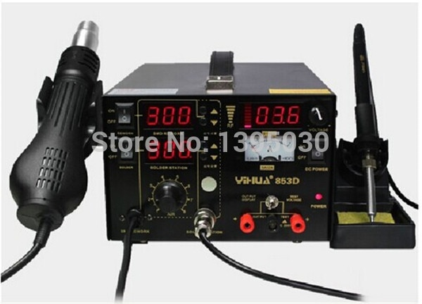 Multifunction SMD/SMT rework station hot air gun soldering iron DC power supply 3in1 YH-853D, welding machine, iron soldering