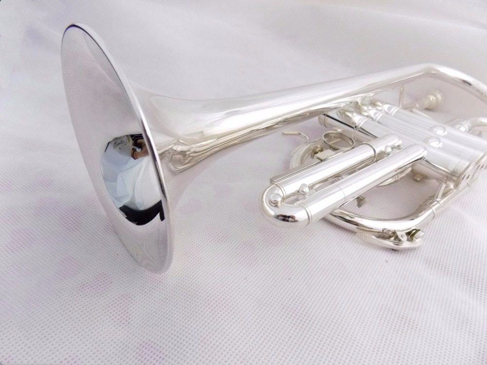Bb Brass Cornet Trumpet Instrument Silver plated with Case and mouthpiece Musical instruments enlarge