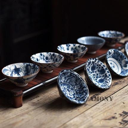 Чайный набор WIZAMONY Bue, белая китайская фарфоровая чаша для чая, чайный набор с керамической глазурью, чаша для чая кунг-фу