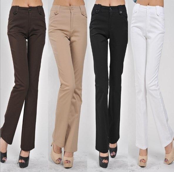 Oficina señoras Negro Blanco marrón caqui Formal Flare pantalones mujeres de talla grande pantalones 4XL Lycra Calca pantalones acampanados