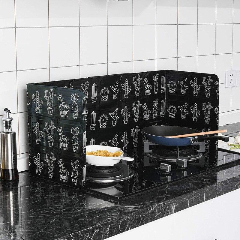 1pc de papel de aluminio de aceite de bloque de aceite barrera estufa de cocina de aislamiento de calor Anti-salpicaduras de deflector utensilios de cocina suministros