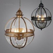 Lampes suspendues Globe en fer forgé, Vintage Loft Globe en fer forgé ombre en verre éclairage de cuisine lampes à suspendre suspension Luminaire de Bar