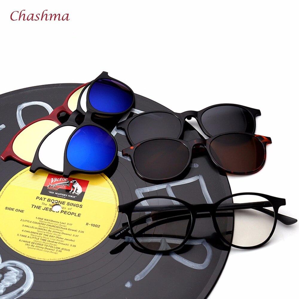 Marca Chashma 5 Clips para gafas de sol, montura redonda para gafas de sol polarizadas, montura Vintage, gafas para mujer