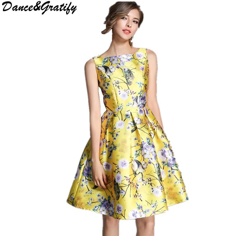 Dance&Gratify Brand Runway Ball Gown Dress 2017 Fashion Elegant Sleeveless Flower Print Party Dress for Women Vestidos