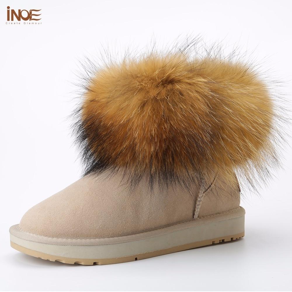 INOE dziewczęce futra lisa krótkie kostki zimowe zamszowe Shearling śniegowe buty dla kobiet prawdziwa skóra owcza wełniane futrzane buty zimowe