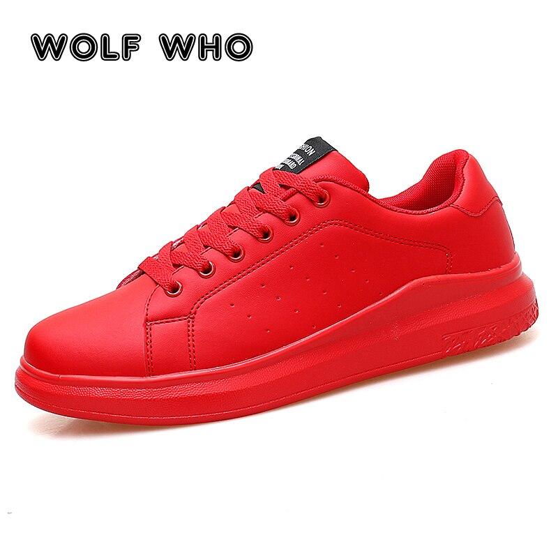 WOLF WHO zapatos informales transpirables de talla grande para hombre, zapatos de cordones a la moda para adultos, zapatillas para caminar Rojas, zapatillas planas para hombre krasovki X-123