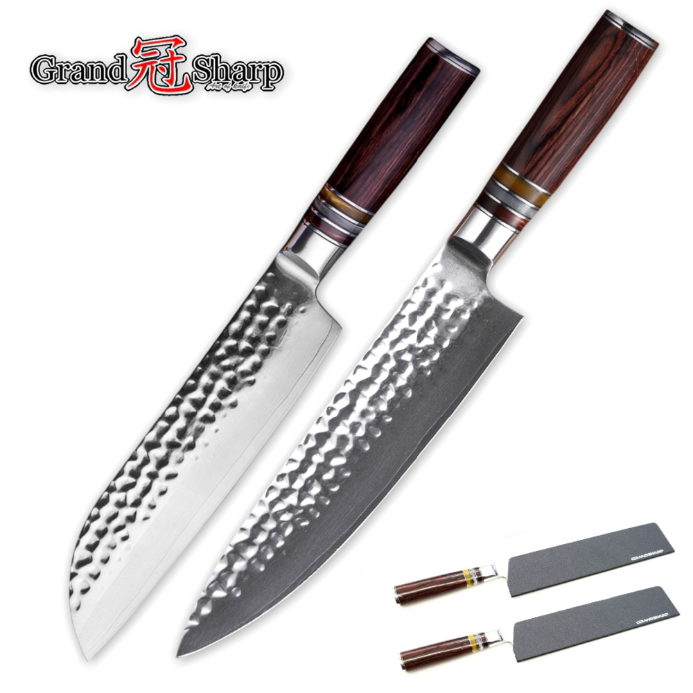 طقم سكاكين دمشق من الفولاذ الياباني vg10, سكين الشيف سانتوكو 67 طبقة من الفولاذ المقاوم للصدأ