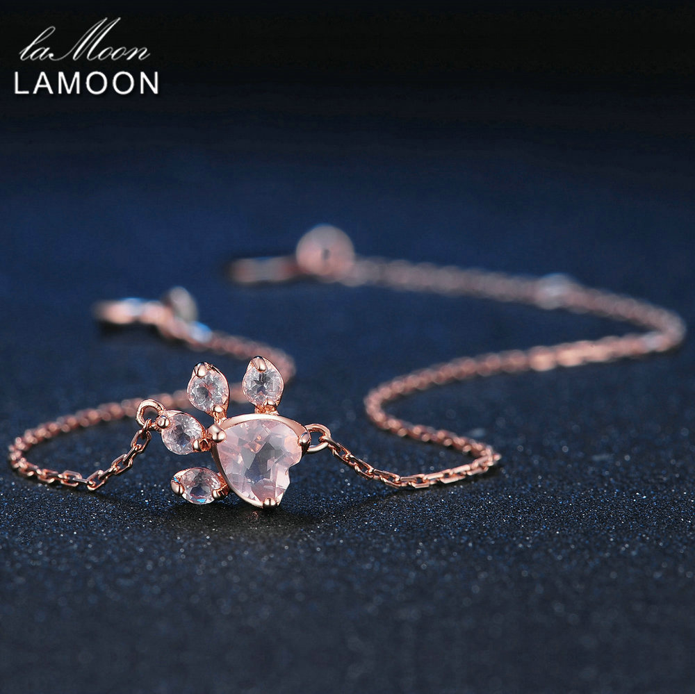 LAMOON Animal Bear Paw 5X5.5mm 100% Natural Pink Rose Quartz 925 Sterling Silver Jewelry Charm Bracelets for Women Gift HI005