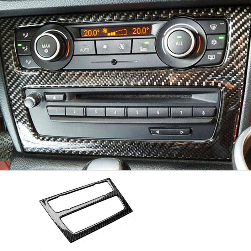 Decoración del Panel de CD de la consola central de estilo de coche pegatina de fibra de carbono embellecedor para BMW X1 E84 2010-2015 accesorios interiores