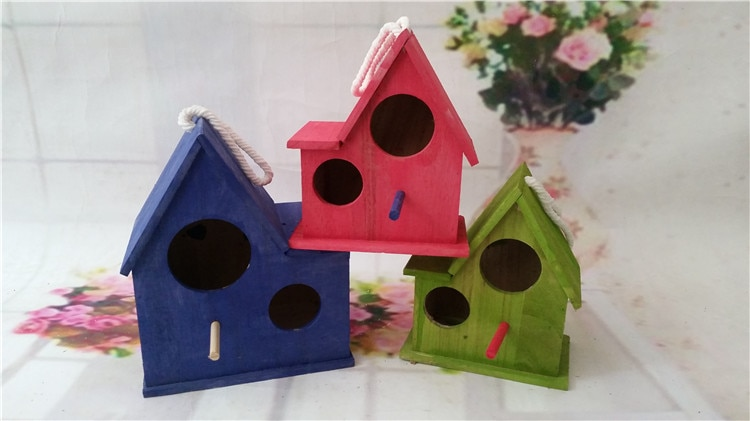 Jaula de pájaro de madera maciza para exterior, jaula de nido para cría de loros, casa de tres pájaros de colores, verde, azul y rosa