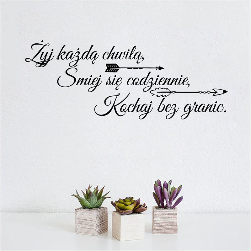Etiqueta engomada de la pared del vinilo de las citas de la vida familiar de Polonia Polskie vive cada momento reir cada día decoración del arte decoración de la pared decoración del hogar