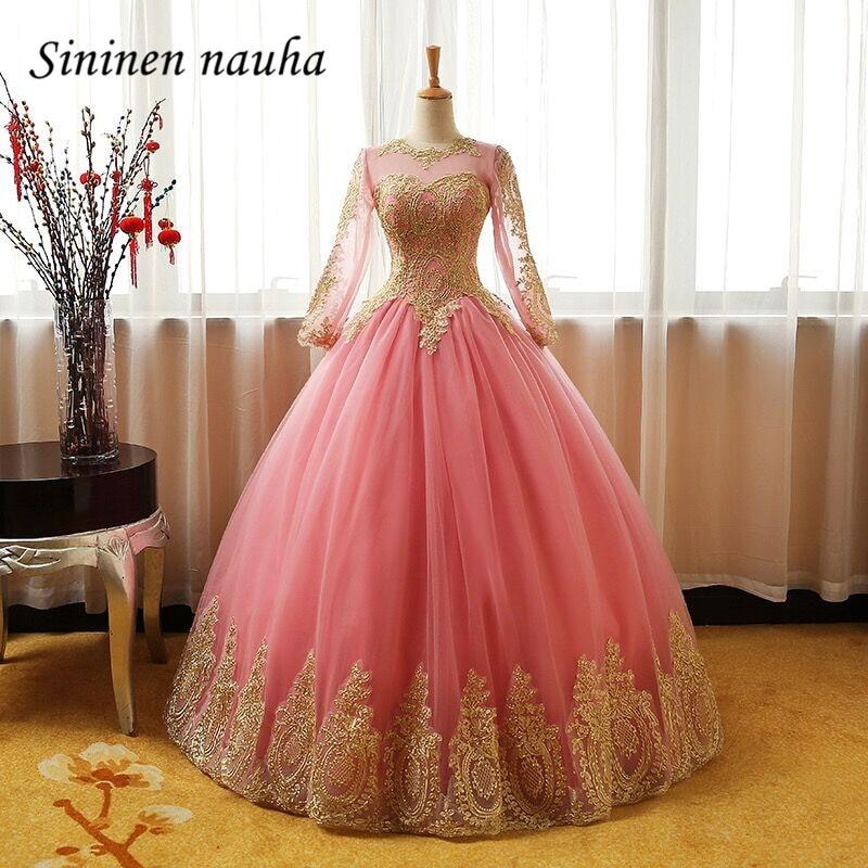 Blush Quinceanera Dresses Prom Party Dress Gold Appliques Long Sleeves Dance Ball Gown Vestidos De 15 Anos Sweet 16 Dresses 238