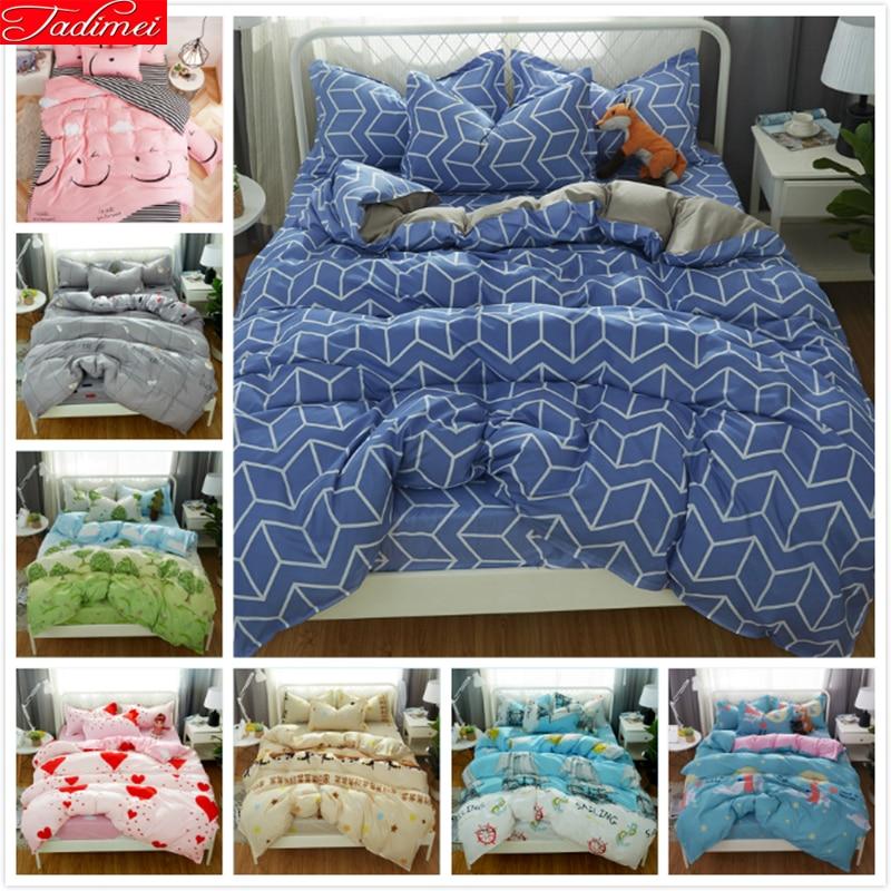 Funda nórdica gris azul, juego de cama doble tamaño King Size, colchas grandes para adultos, ropa de cama de algodón de piel suave 180x220 200x230 220x240