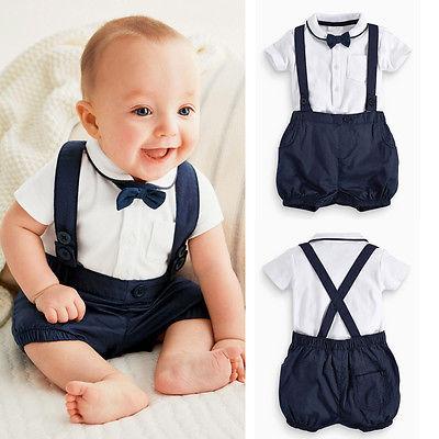 3 шт. малыш детская одежда для новорожденных мальчиков джентльмен наряды галстук-бабочку + T + Bib шорты / брюки комплект 12 - 36 м