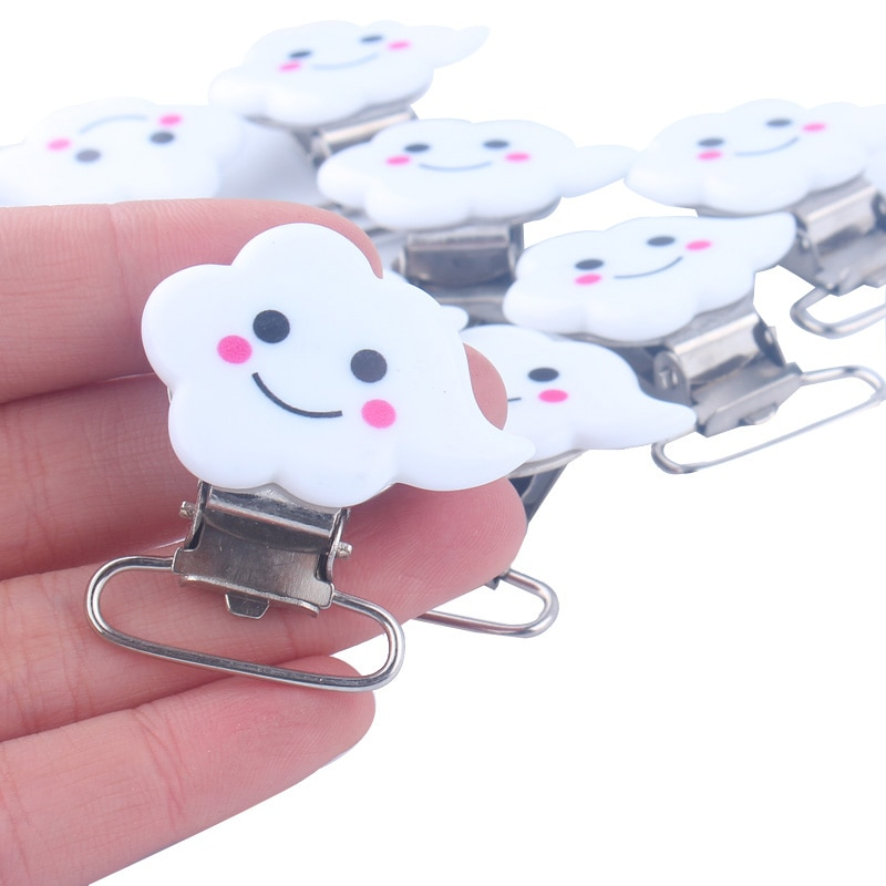 5pcs Cloud Metal Pacifier Clips Cute Smile Cloud Pacifier Holder Clip for DIY Dummy Chain