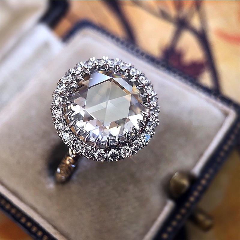 Anillo Vintage de gran tamaño de piedra blanca CZ anillo de princesa brillante Anel Bague anillos de cristal austriaco para mujeres regalos de joyería para boda