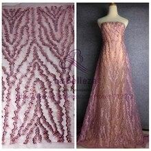 "La Belleza Nova ROSA cores misturadas artesanal beading rendas tecido 49 ""width eveining desgaste tecido de renda 1 quintal"