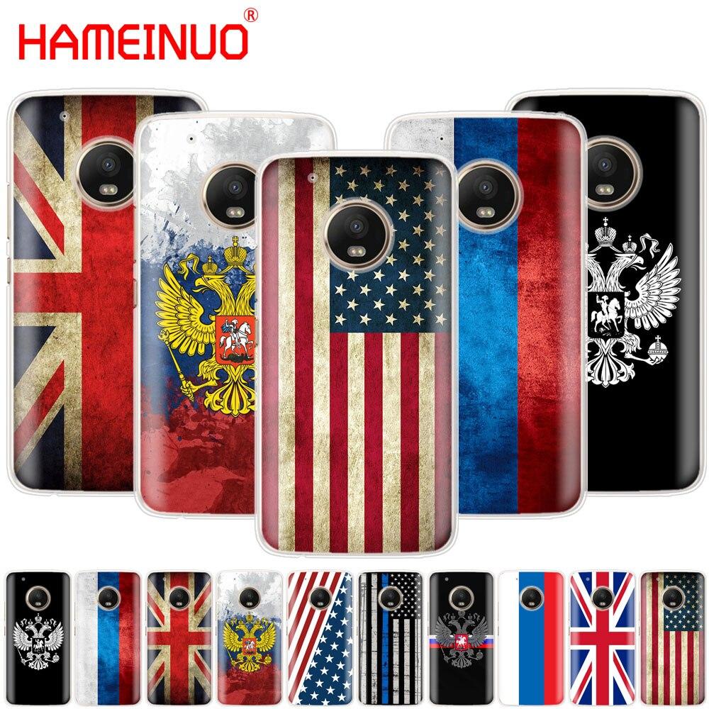Carcasa con emblema nacional de la bandera británica rusa HAMEINUO funda para Motorola Moto X4 C G6 G5 G5S G4 Z2 Z3 PLAY PLUS