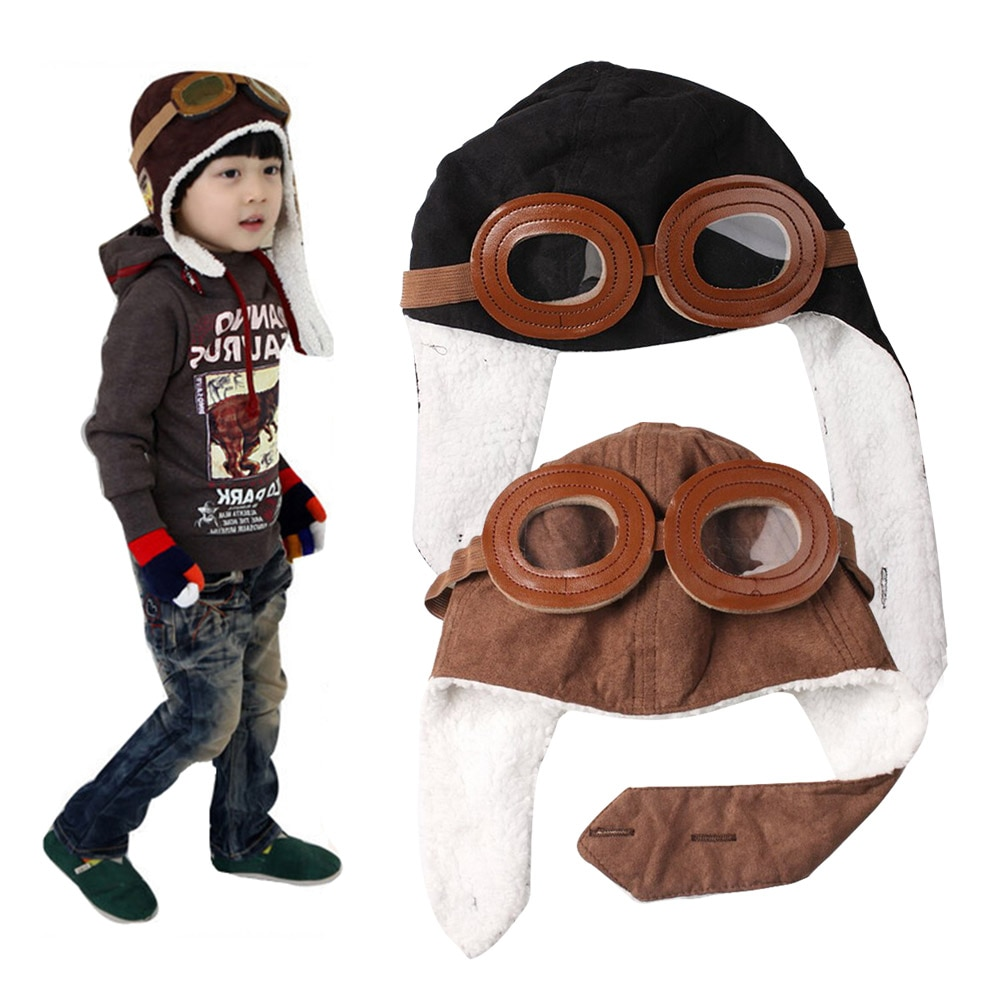 2019 New Fashion Baby Toddler Boy Girl Bomber Hats Kids Pilot Cap Fleece Warm Hats Earflap Beanie -MX8