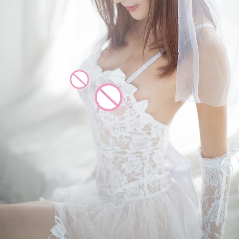 1PC Sexy Lingerie Hot White Bride Wedding Dress Uniforms Perspective Lace Gauze Outfit Erotic Lingerie  Costumes