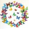 12 Uds 3D mariposa pegatinas de pared para sala de estar dormitorio Halloween decoración para fiesta de Navidad de mariposas con arte Pin DC23