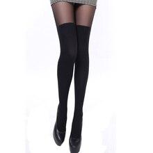 Sexy femmes collants sur le genou Double rayure pure noir tentation jarretelle Patchwork collants collants