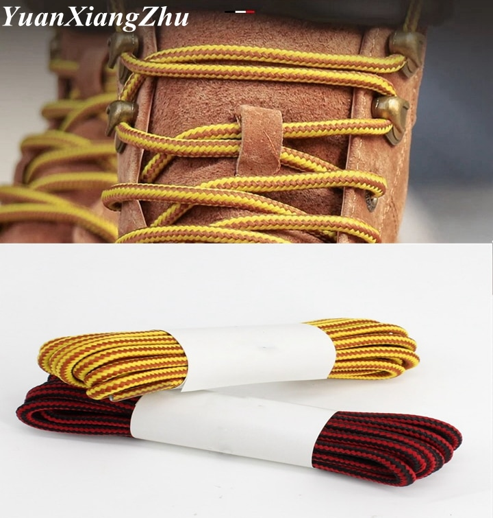 1Pair Round Striped Double Color Shoelaces For Men And Women Unisex Lace Leather Boot Shoe Laces Outdoor Sport Sneaker Shoelace