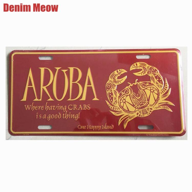 Carteles de hojalata Vintage de la isla feliz de ARUBA One, decoración de la cafetería del coche, pegatinas de hierro para pared, cartel artístico, placas de cartelera, placa N183