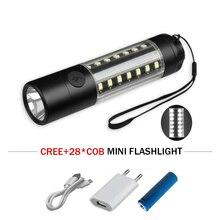 mini flashlight 28 led portable light USB cob torch lanterna waterproof linterna led flash light camping rechargeable battery