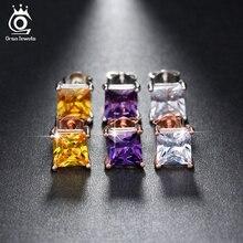 ORSA bijoux femmes boucles doreilles 1ct coussin coupe cubique Zircon sans Nickel grandes boucles doreilles bijoux en gros OE148