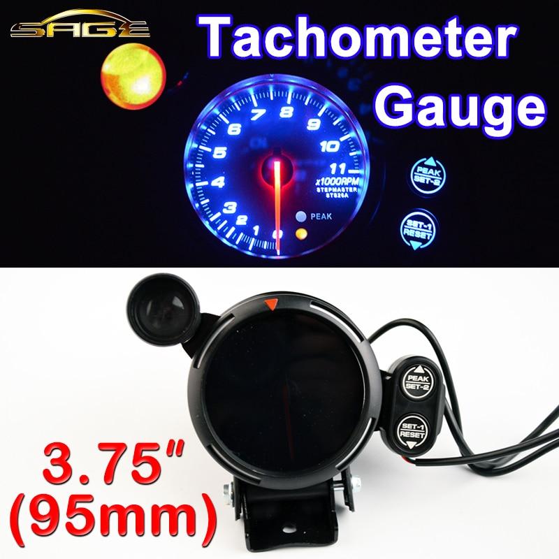 """Tacómetro Dragon Gauge de 3,75 """"95mm, medidor de tacómetro de 3 3/4 pulgadas para coche, tacómetro LED azul con luz de cambio RPM, carcasa negra de 12V para coche"""