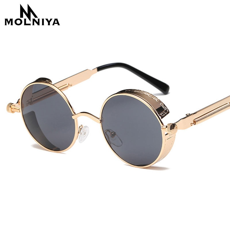 Metal Round Steampunk Sunglasses Men Women Fashion Glasses Brand Designer Retro Frame Vintage Sungla