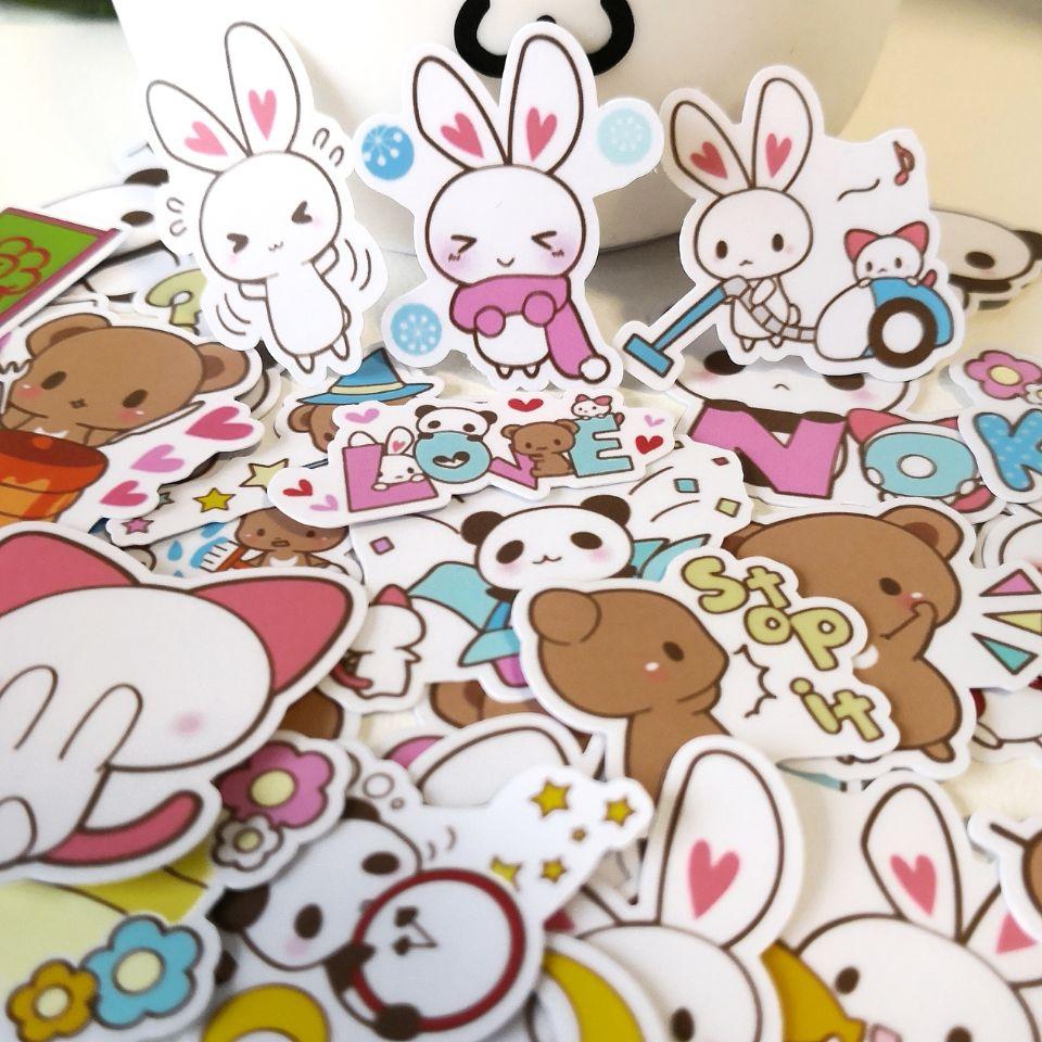 20/40 pces bonito dos desenhos animados animal mix diário clip arte adesivo skate doodle caderno adesivo