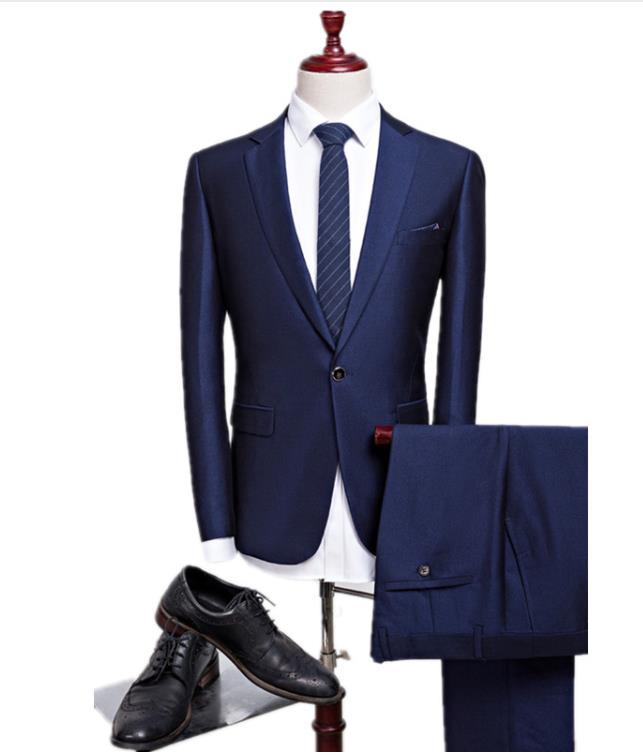 2018 new autumn wedding navy blue suits men blazer men men's navy blue business suits men's Dress suits size M-4XL wedding groom