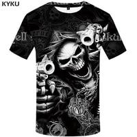 kyku brand skull t shirt skeleton t shirt men tshirt gothic shirts punk tee rock t shirts 3d t shirt anime print mens clothing