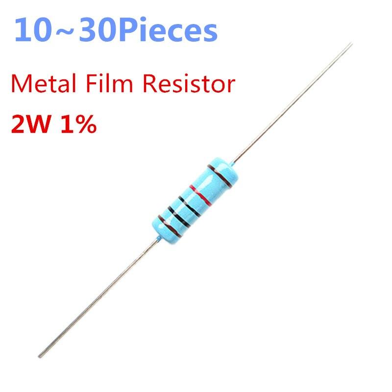 10 ~ 30 piezas 3 ohm 2W 1% Radial DIP de película de Metal Axial resistencia 3ohm 2W resistencias