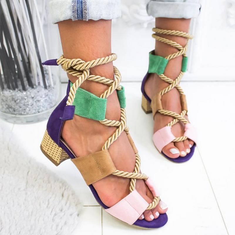 Mulheres Sandálias de Verão Rendas Até Sapatos de Mulher Saltos Baixos Sandálias Peixe Boca Sandálias Mulher Crossbanding grosso Corda de Cânhamo Tamanho Praia 43