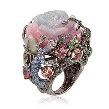 Vintage Turkse Zwarte Goud Pioen Rose Wit Roze Bloem Ringen Voor Vrouwen Mannen Luxe Boomtak Hagedis Ontwerp Grote Ring z4X878