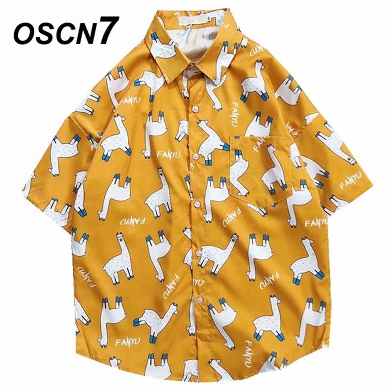 Мужская рубашка с коротким рукавом OSCN7, Повседневная пляжная рубашка с принтом, Гавайский стиль, 3013