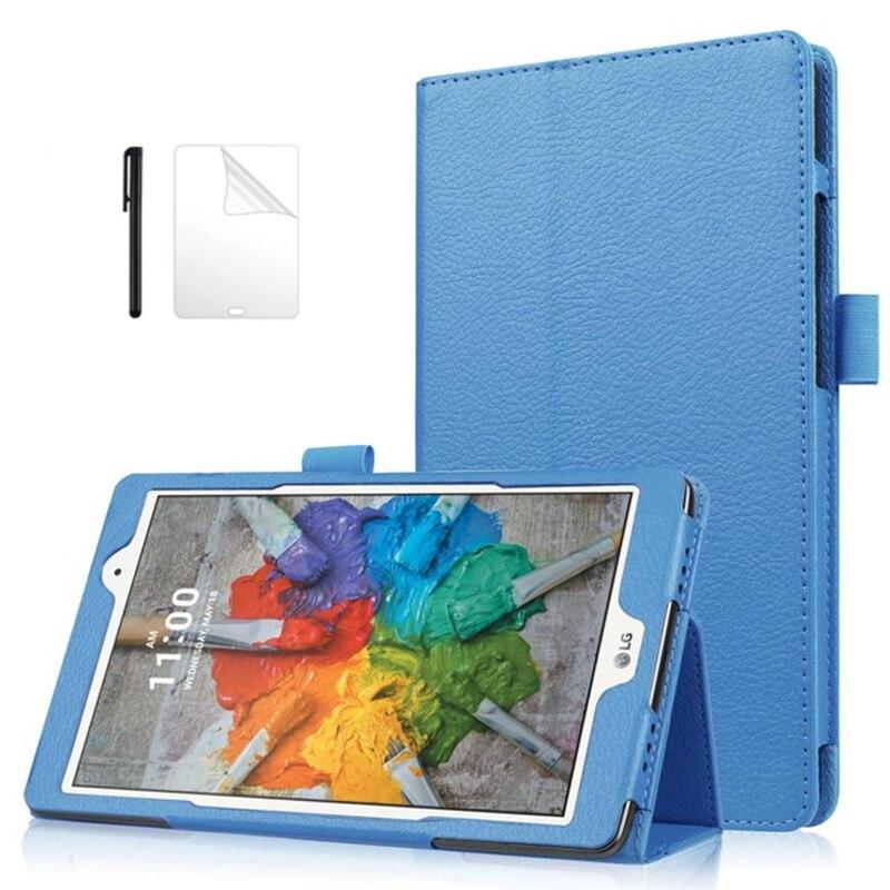 Litchee plegable de cuero PU funda para LG G pad 3 8,0 V525 V521 V520 Tablet cubierta para LG g pad 3 8,0 pulgadas V525 + película + pen