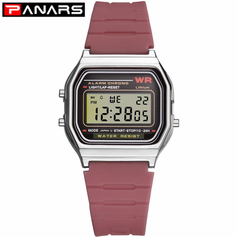 Relojes digitales simples PANARS para hombre, relojes de pulsera deportivos impermeables con LED Digital G Retro para mujer