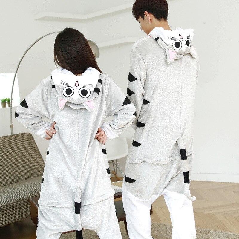 Los adultos kigurumi de animales este gato casa conjuntos de pijama y ropa de cama Cosplay cremallera de Pelele con capucha de las mujeres de los hombres de invierno Unisex pijamas de dibujos animados