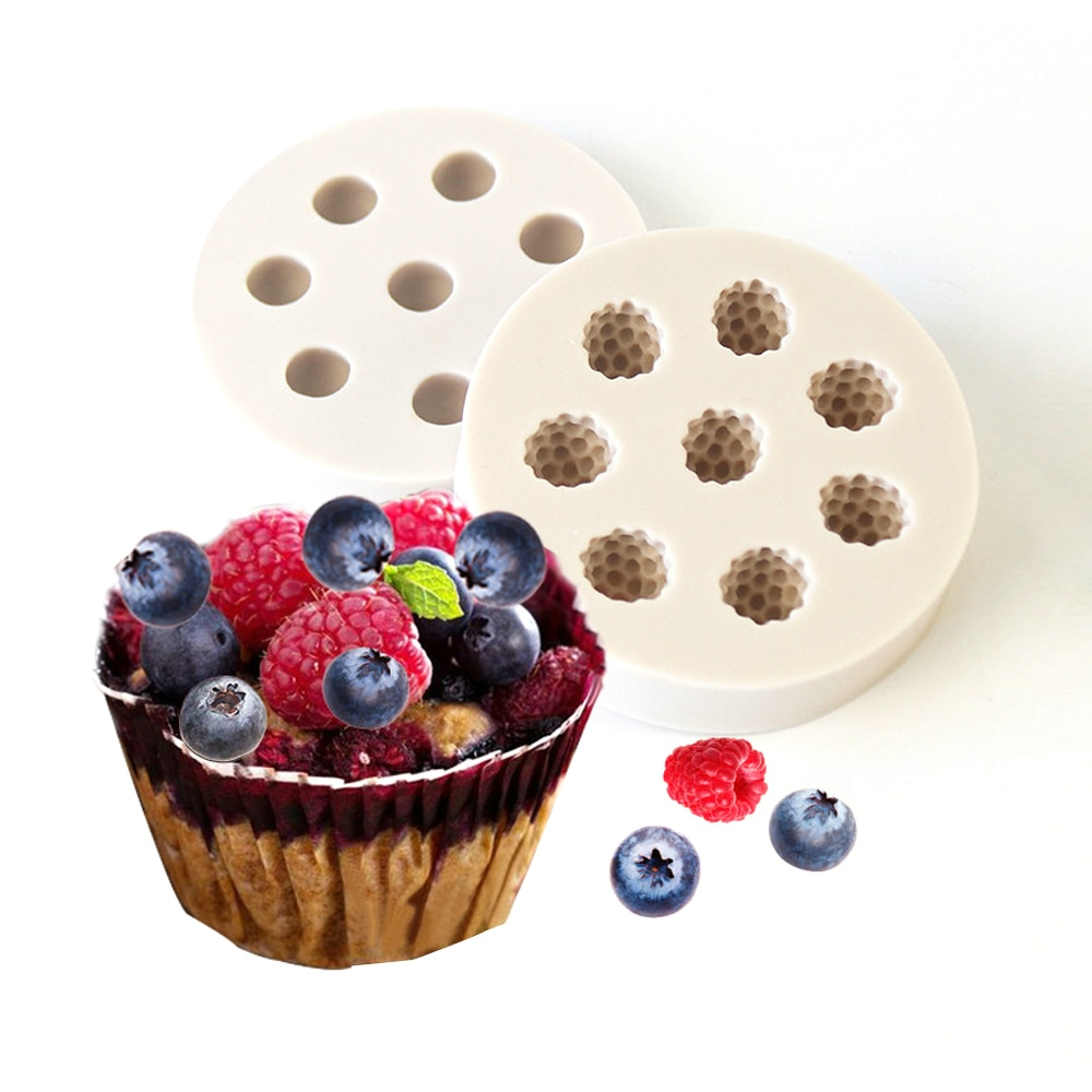 2 uds moldes de arándano frambuesa molde de arcilla de jabón de silicona DIY Fondant chocolate de decoración de tarta caramelo galleta molde cocina horno herramienta