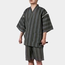 Summer Japan style Breathable Kimono pajamas sets Traditional Man Kimono Nightgown Bathrobe Male sleep lounge sleepwear A52512