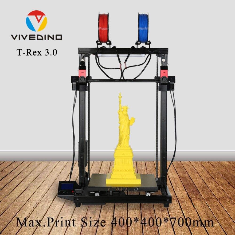 El más nuevo diseño de 2019, impresora T-Rex 3,0 3D con nivelación automática de 350W de potencia pantalla LCD 400*400*700mm tamaño grande