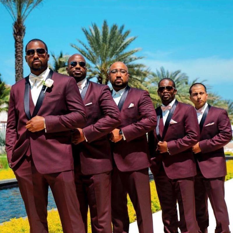 ¡Novedad! esmoquin de novio Borgoña con un botón, mantón solapa padrinos de boda, Blazers para hombre, trajes de 3 piezas (chaqueta + Pantalones + chaleco + corbata) NO 300