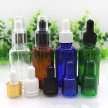 Flacon compte-gouttes en verre vide de 30 ml, flacon compte-gouttes en verre de Pipette dhuile essentielle flacon de parfum clair brun bleu vert