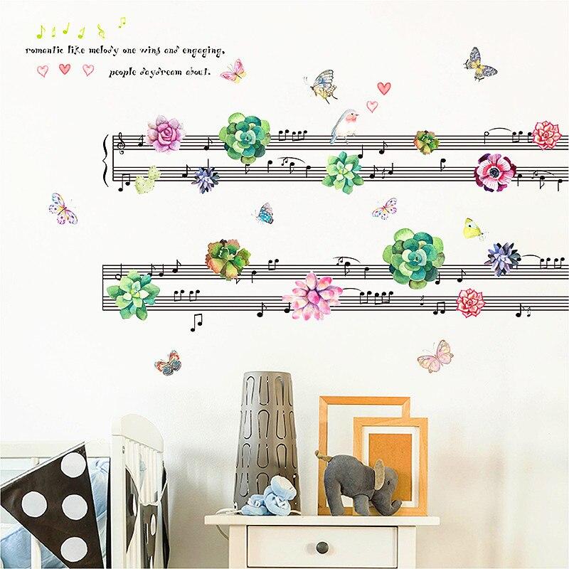 Coloridos y suculentas hojas de música Decoración Para sala de estar adhesivos removibles para pared