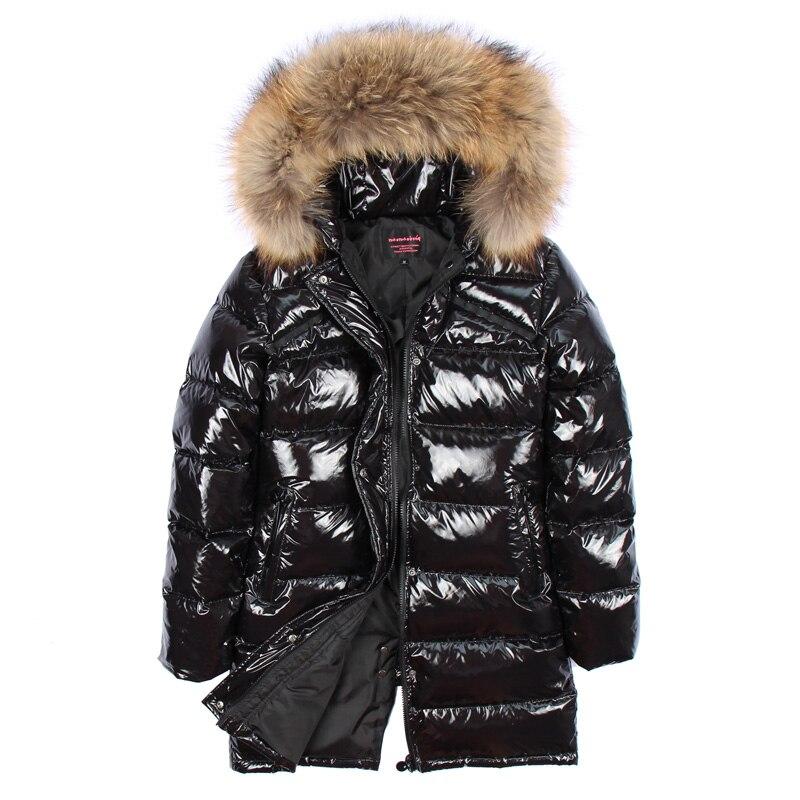 2018 hiver veste femmes réel fourrure manteau longue Parka canard duvet manteau réel raton laveur fourrure col épais chaud noir Streetwear nouveau